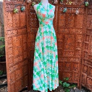 1970's Paula Brooks Halter Top & Maxi Skirt Set